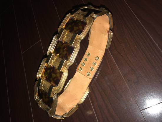 Balmain Laminated Leather And Gold Brass Statement Belt Size 30 - 3