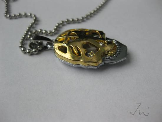 Handmade Gold Skull Pendant Stainless Steel Necklace Size ONE SIZE - 3