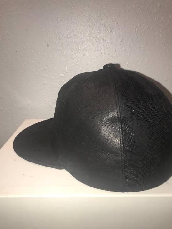 Julius MA_ JULIUS ULTRA RARE BLACK COATED LAMB SKIN LEATHER BASEBALL CAP HAT Size ONE SIZE - 12