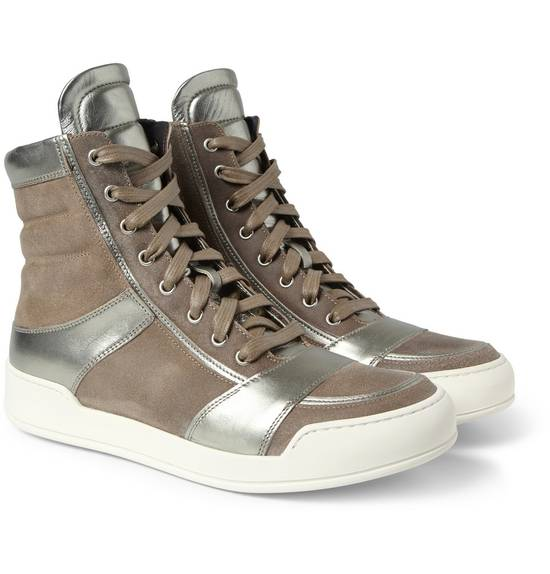 Balmain Brown Suede Silver Leather High Top Sneakers Size US 8 / EU 41