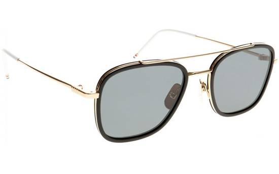 Thom Browne TB-800 14K Gold Black Dark Grey Sunglasses Size ONE SIZE