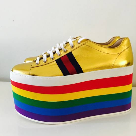 Gucci Gold Rainbow Sneakers Size US 9 / EU 42 - 2