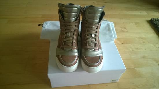 Balmain Brown Suede Silver Leather High Top Sneakers Size US 8 / EU 41 - 12