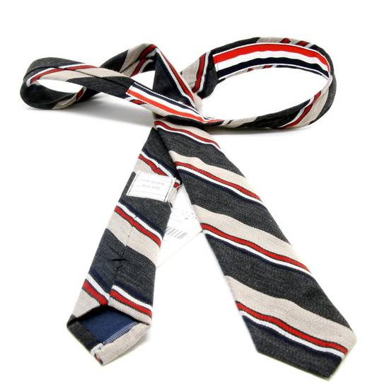 Thom Browne Thom Browne Signature Tri Color Grossgrain Stripped Men's Luxury Fashion Slim Tie Size ONE SIZE - 3
