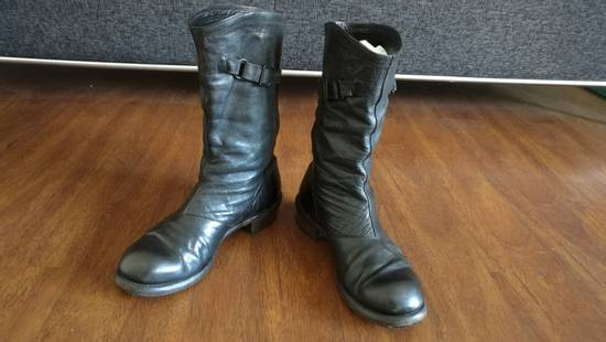 Julius 2008SS Black Horse Hide Tall Leather Strap Boots Size US 11 / EU 44