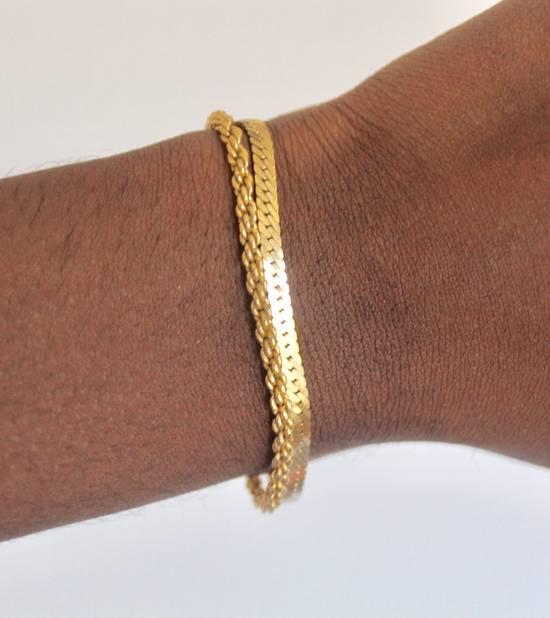 Givenchy Gold Plated Herringbone & Rope Link Bracelets (2) Size ONE SIZE
