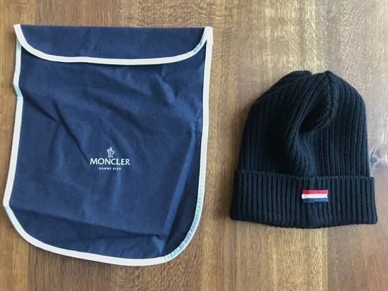 Thom Browne Moncler Gamme Bleu Black ribbed hat by Thom Browne Size 30