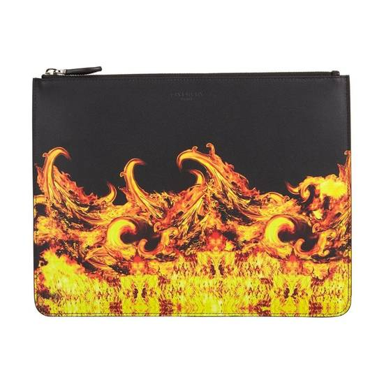 Givenchy Givenchy Flame Print Large Leather Pouch Size ONE SIZE