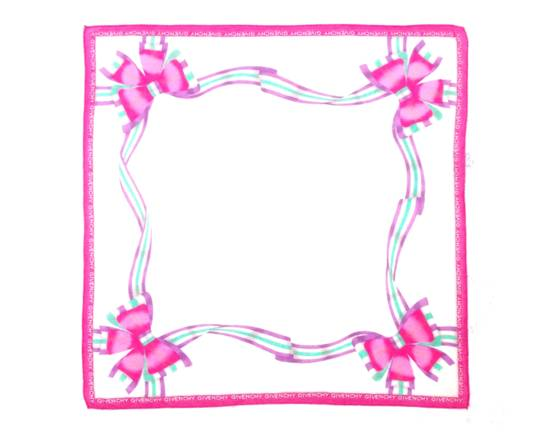 Givenchy Givenchy Paris Pink Ribbon Pocket Squared Scarf/ Scarves/ Handkerchiefs Size ONE SIZE - 1