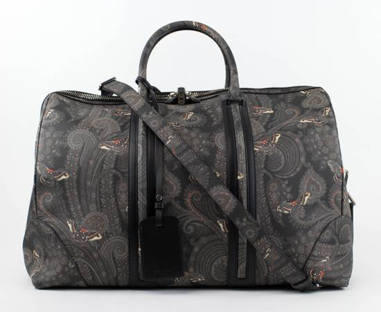 Givenchy Men's Gray/Black Leather Paisley Weekender Bag Size ONE SIZE