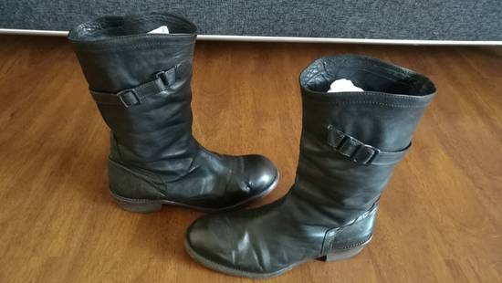 Julius 2008SS Black Horse Hide Tall Leather Strap Boots Size US 11 / EU 44 - 4