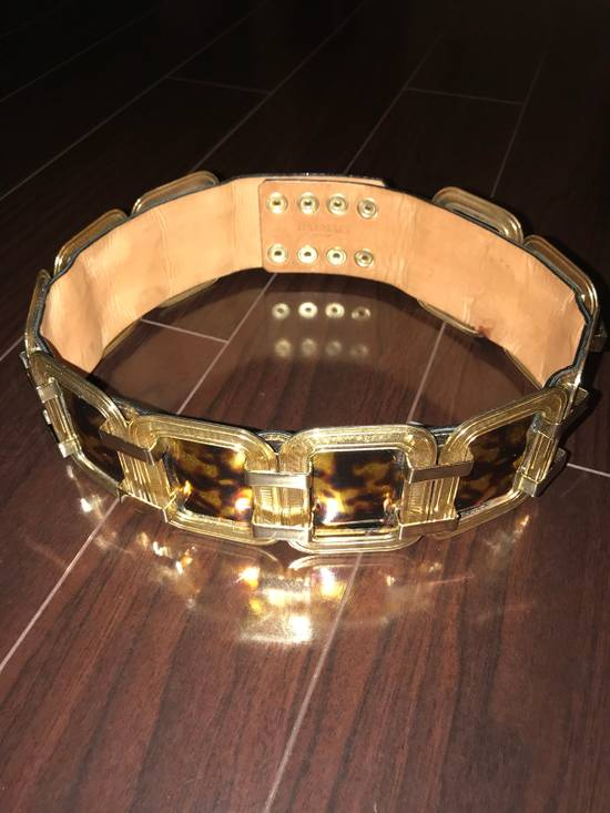 Balmain Laminated Leather And Gold Brass Statement Belt Size 30 - 4