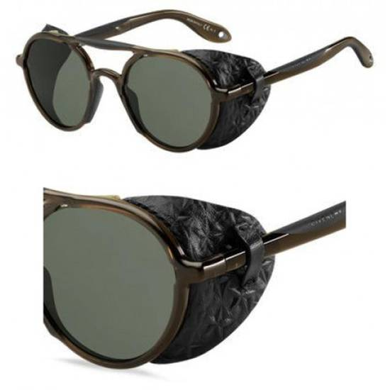 Givenchy NEW Givenchy 7038 Brown Round Sunglasses with Black Star Embossed Leather Shields Size ONE SIZE