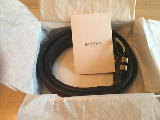 Balmain BALMAIN FW16 Red Velvet & Leather Belt Size 34 - 1