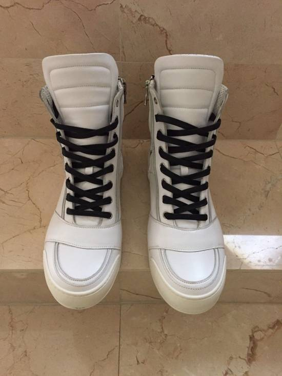 Balmain BALMAIN White Leather High Top Sneakers 100% Authentic Size 45 US 12 Size US 12 / EU 45 - 1