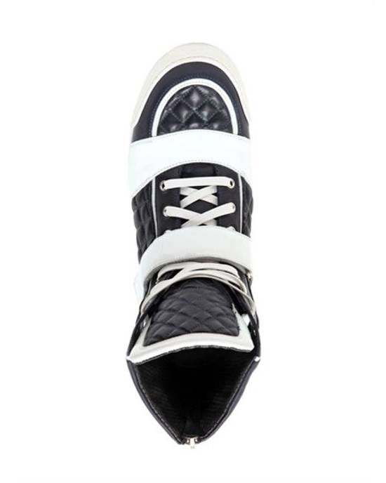 Balmain balmain navy + white quilted leather high tops Size US 11 / EU 44