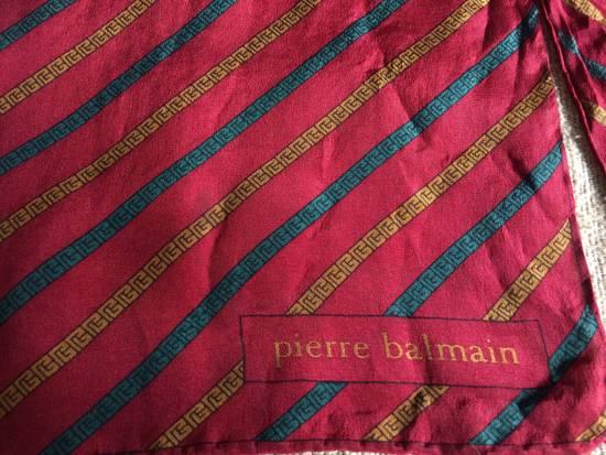 "Balmain Vintage 90s Pierre Balmain Red Green Gold Chain Silk Scarf muffler 11x50"" Size ONE SIZE - 5"