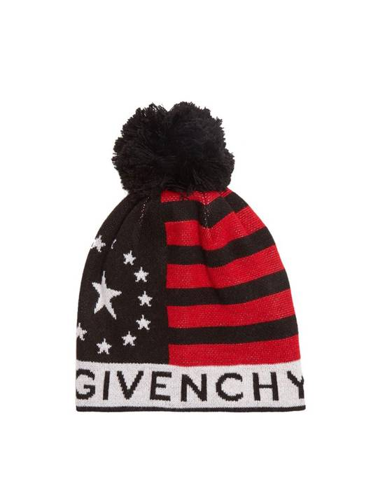 Givenchy Givenchy Pompom Logo Print Wool Blend Beanie Hat 100% Auth Size ONE SIZE - 6