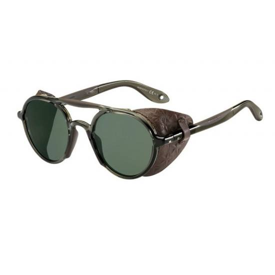 Givenchy NEW Givenchy 7038 Brown Round Sunglasses with Black Star Embossed Leather Shields Size ONE SIZE - 2