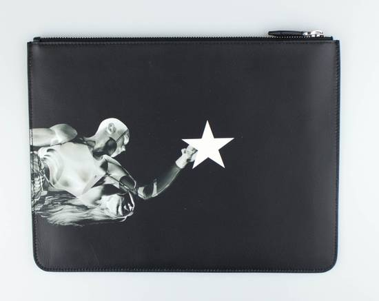 Givenchy Black Leather Star Athlete Large Zip Pouch Bag Size ONE SIZE - 1