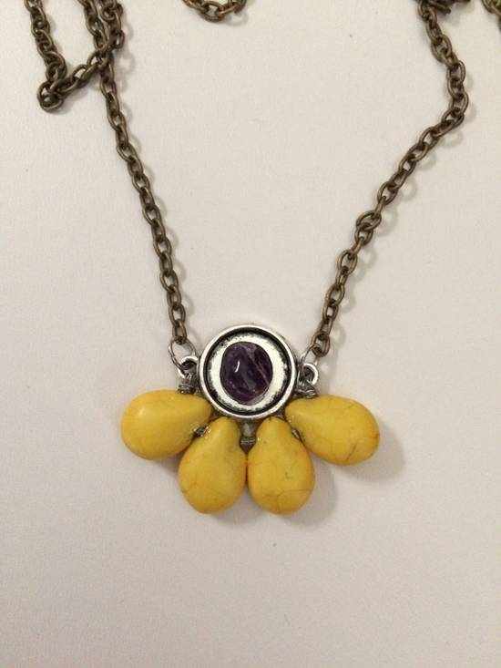 Handmade Yellow Turquoise Beads Bronze Necklace with Amethyst Size ONE SIZE - 2