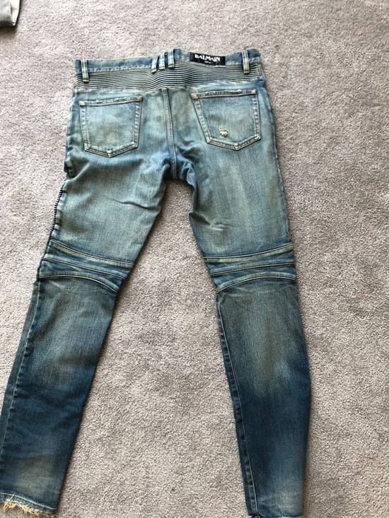 Balmain Balmain Blue Washed Biker Jean Size US 33 - 1