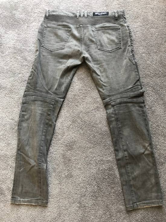 Balmain Balmain Grey Faded Biker Denim Size US 33 - 1