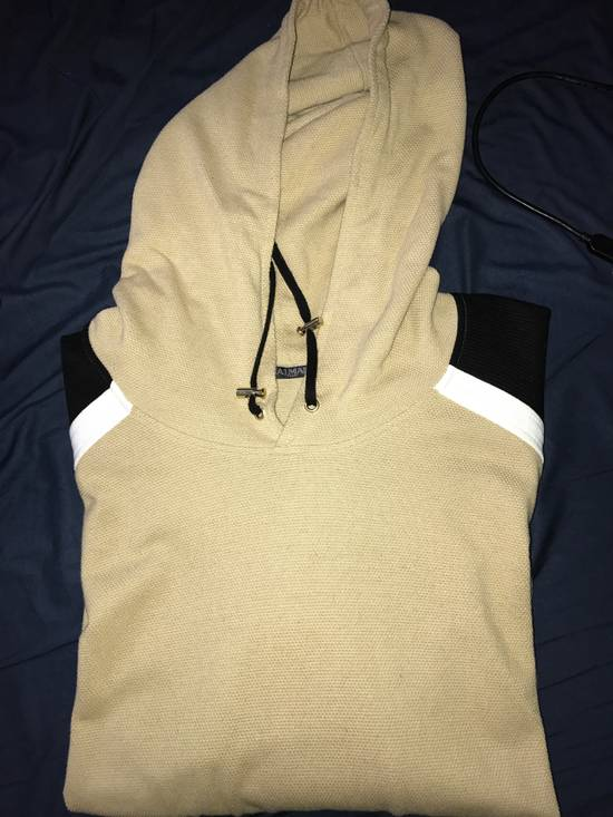 Balmain PANELLED COTTON AND LINEN-BLEND HOODIE Size US XXL / EU 58 / 5 - 1