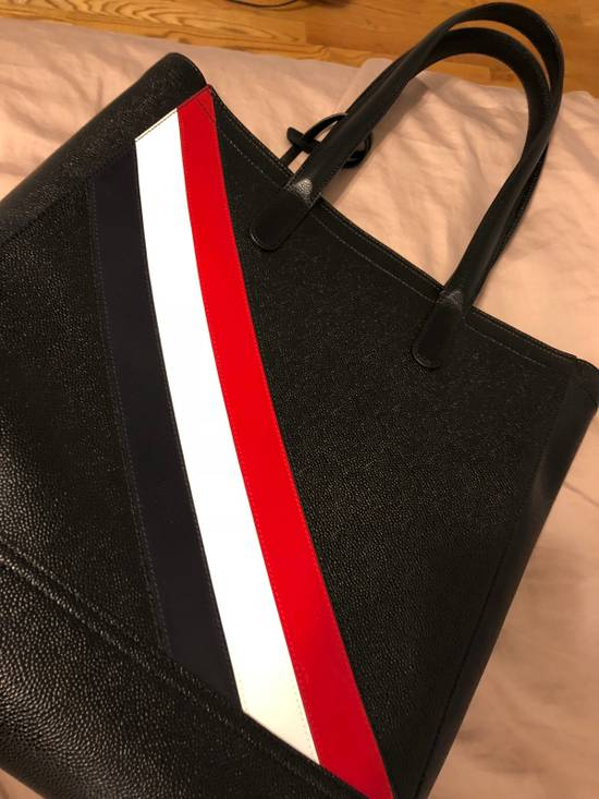Thom Browne THOM BROWNE Tote In Black Pebble Grain Red, White And Blue Diagonal Strip Size ONE SIZE - 3