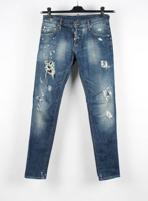 Dsquared2 Dsquared2 Distressed Slim Fit Men Blue Jeans Size 44 Size ... 7ea25b874