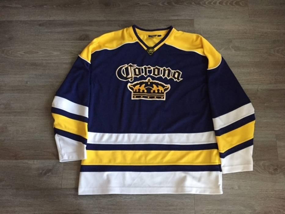Corona Corona Extra Navy Blue Yellow Embroidered Beer Hockey Jersey Size  Large Size US L   3be6926ebb0