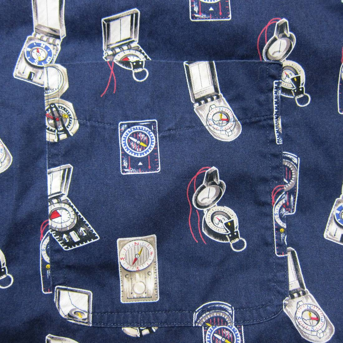 Vintage 90s Chaps Ralph Lauren L 100 Cotton Made In Indonesia Blue All Over Compass