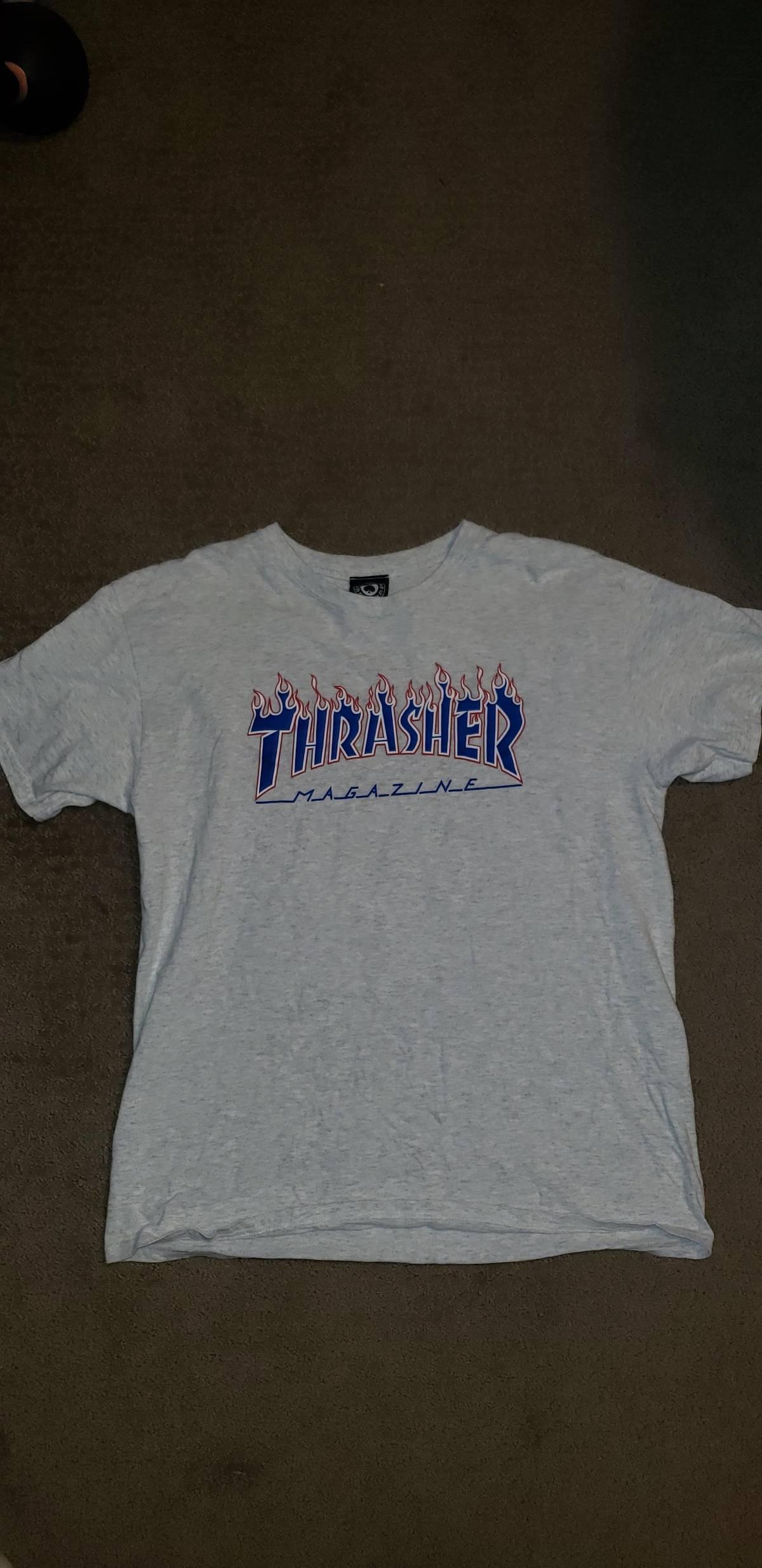 7b9ff72ac Thrasher Patriot Flame Ash Grey/white T-shirt | Grailed