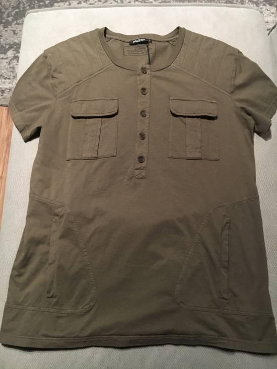 Balmain Balmain Khaki T-Shirt with Kangaroo Pockets Size US L / EU 52-54 / 3 - 7
