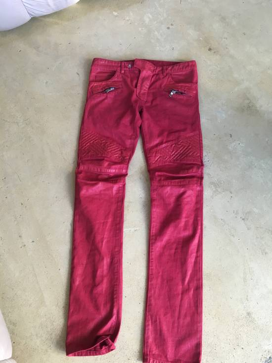 Balmain Red Coated Balmain Biker Jeans Size US 33