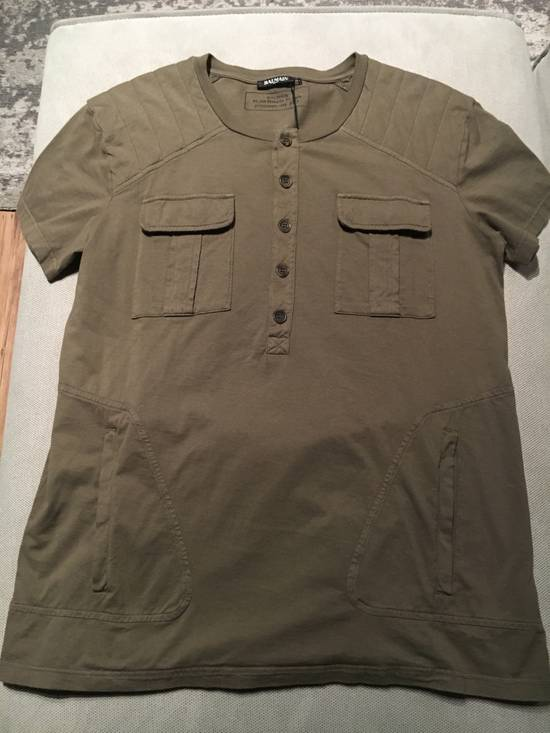 Balmain Balmain Khaki T-Shirt with Kangaroo Pockets Size US L / EU 52-54 / 3 - 7