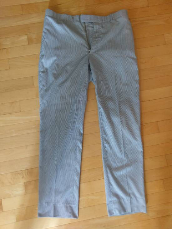 Thom Browne Thom Browne White-Blue Striped Cotton Pants - 2004 - Made in New York 32-33 Waist Size US 33