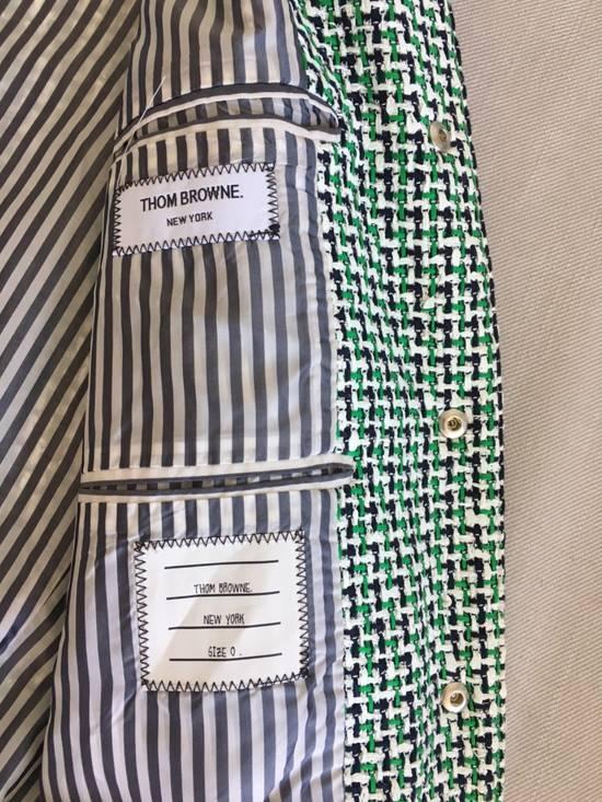 Thom Browne Thom Browne Green/Navy/White One by One Rubber Tweed Varsity Jacket w/ Navy Suede Sleeves Size US XS / EU 42 / 0 - 2