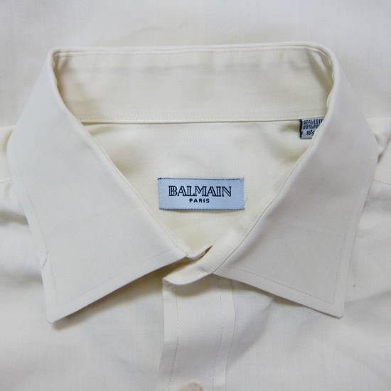 Balmain Balmain Paris 16 1/2/42 80% Cotton 20% Polyester Made in Hong Kong Light Yellow Long Sleeve Front Pocket Button Up Shirt Size US L / EU 52-54 / 3 - 5