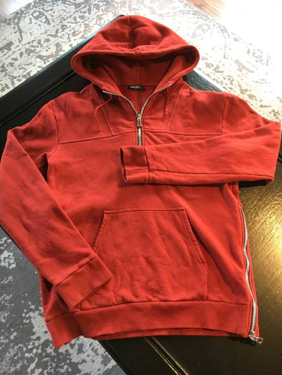 Balmain Balmain Red Hoodie with Zipper Details Size US L / EU 52-54 / 3 - 1