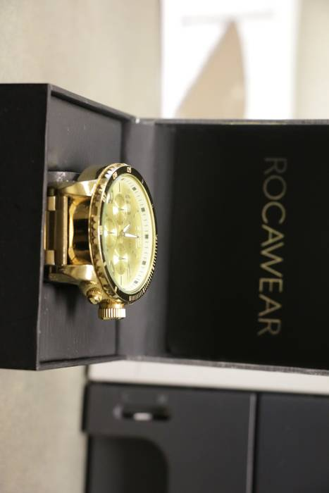 Rocawear Mens Gold Dial Stainless Steel Rocawear Watch Size One