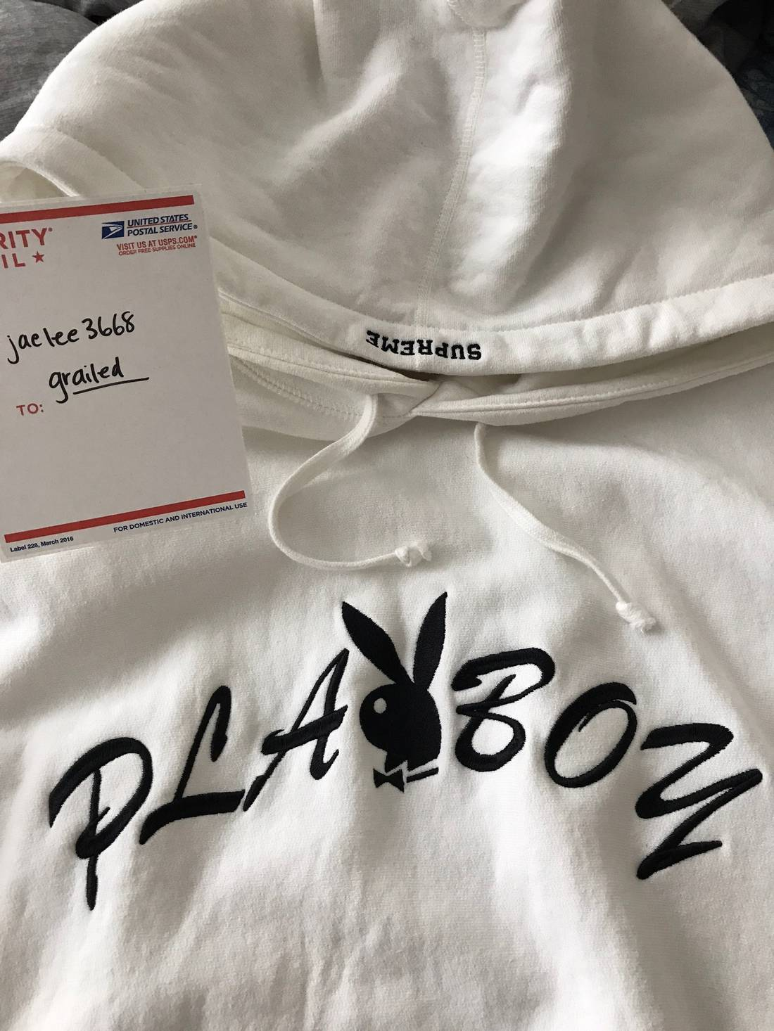 Supreme supreme playboy white hoodie size us l eu 52 54 3