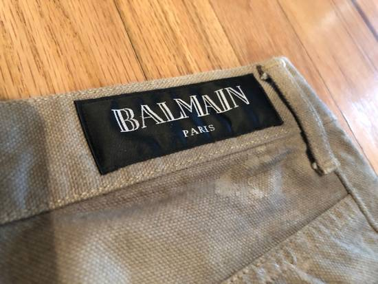 Balmain Balmain Biker Jeans Cotton Canvas Beige Distressed Paint Size US 30 / EU 46 - 6