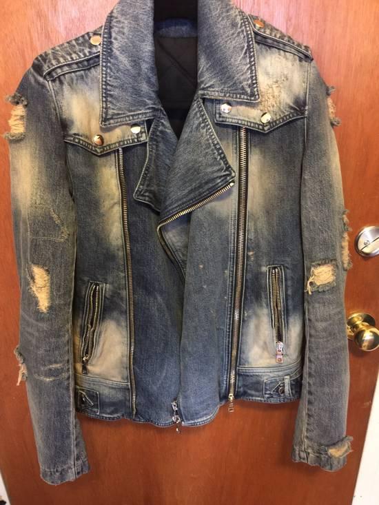 Balmain Distressed Biker Denim Jacket Size US M / EU 48-50 / 2