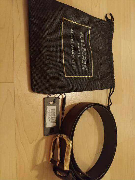 Balmain Balmain brown leather gold buckle belt Size 32 - 3