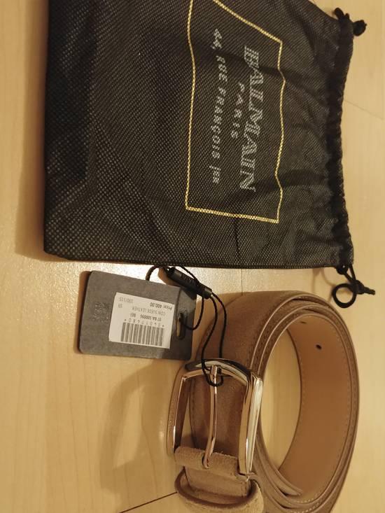 Balmain Balmain tan suede silver buckle belt Size 36 - 3
